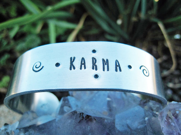 Karma Bracelet Hand Stamped Aluminum Cuff - Sienna Grace Jewelry | Pretty Little Handcrafted Sparkles