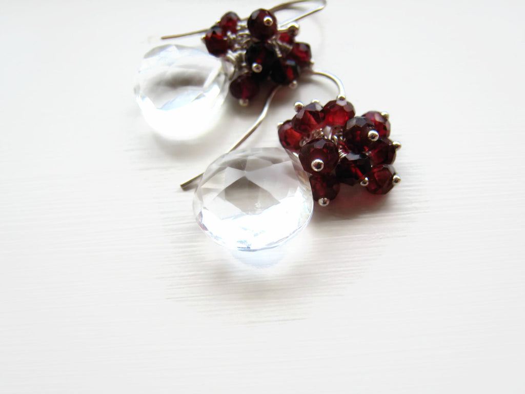 Rock Crystal Quartz Cluster Earrings with Red Garnets