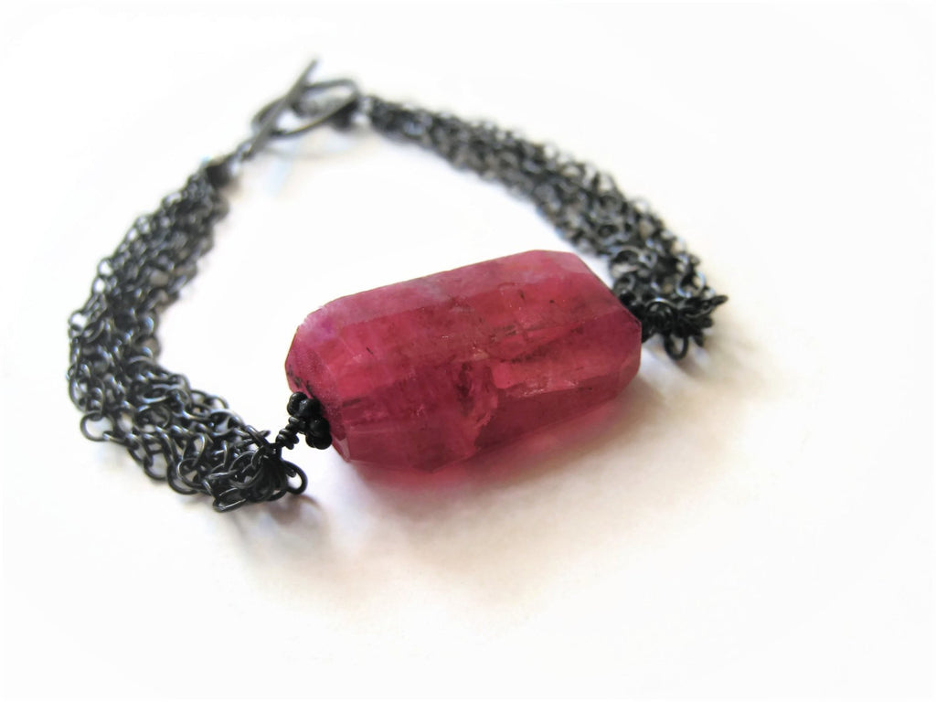 Ruby Moonstone Nugget Bracelet
