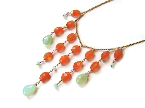 Orange Carnelian and Chalcedony Bib Statement Necklace - Sienna Grace Jewelry | Pretty Little Handcrafted Sparkles