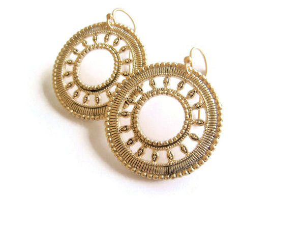 Gold Circle Earrings Boho Festival Style - Sienna Grace Jewelry