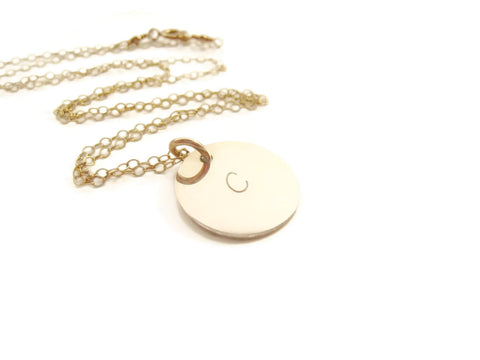 Gold Initial Hand Stamped  Personalized Pendant Necklace