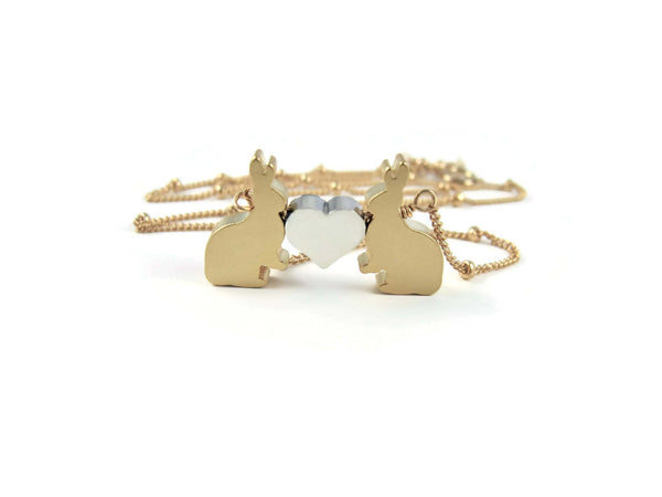 Love Bunnies Valentines Day Necklace Gold Rabbit Woodland Jewelry