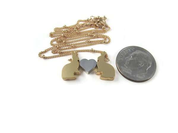 Love Bunnies Valentines Day Necklace Gold Rabbit Woodland Jewelry - Sienna Grace Jewelry
