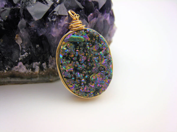 Rainbow Druzy Quartz Wire Wrapped Necklace - Sienna Grace Jewelry | Pretty Little Handcrafted Sparkles