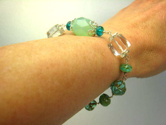 Turquoise Green and Aqua Czech Glass Bracelet Beach Inspired - Sienna Grace Jewelry