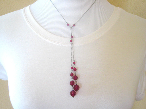 Red Crystal Lariat Necklace Wire Wrapped Long Necklace