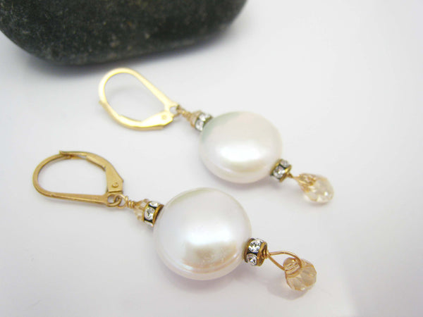 Coin Pearl Bridal Earrings with Swarovski Crystals - Sienna Grace Jewelry | Pretty Little Handcrafted Sparkles