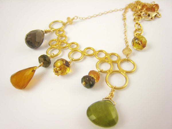 Gold Bubble Style Gemstone Necklace - Sienna Grace Jewelry | Pretty Little Handcrafted Sparkles