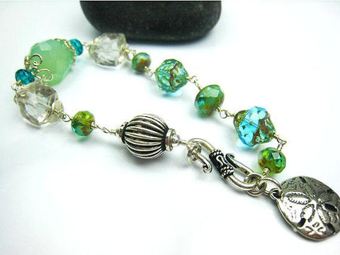 Beach Inspired Turquoise Green and Aqua Czech Glass Bracelet