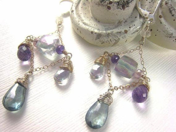 Amethyst Quartz Chandelier Statement Earrings