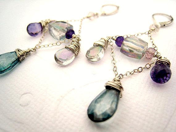 Amethyst Quartz Chandelier Statement Earrings - Sienna Grace Jewelry