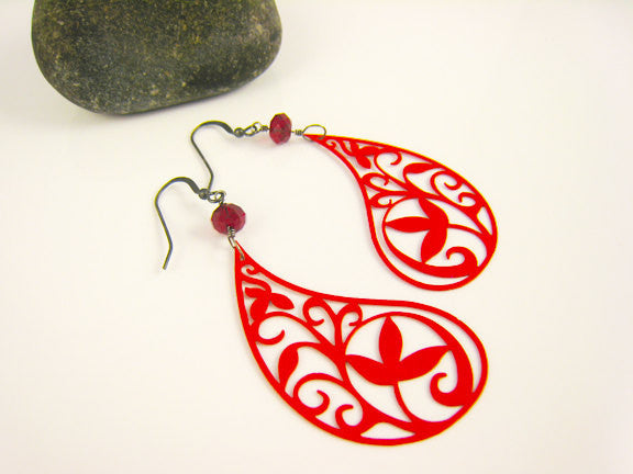 Red Paisley Earrings Bohemian Festival Style - Sienna Grace Jewelry | Pretty Little Handcrafted Sparkles