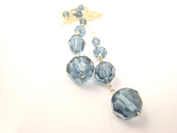 Blue Crystal Lariat Wire Wrapped Necklace - Sienna Grace Jewelry