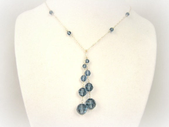 Blue Crystal Lariat Wire Wrapped Necklace