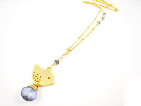Bird Necklace Golden Sparrow with Blue Quartz - Sienna Grace Jewelry | Pretty Little Handcrafted Sparkles