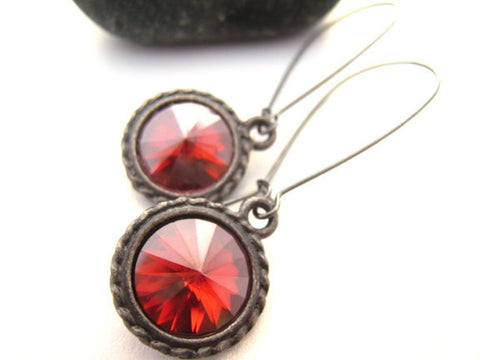 Swarovski Red Crystal Earrings