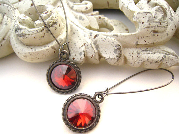 Swarovski Red Crystal Earrings - Sienna Grace Jewelry | Pretty Little Handcrafted Sparkles