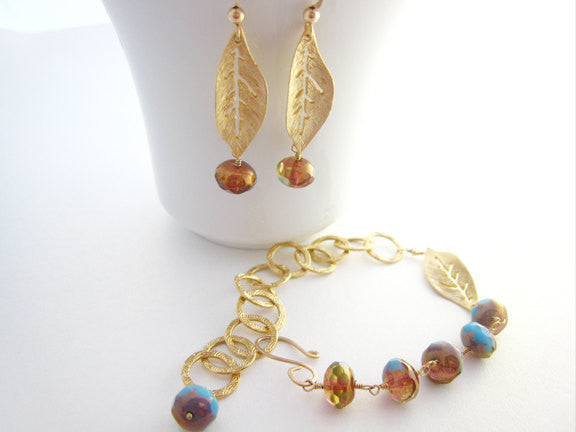 Czech Glass Earrings and Bracelet Set Golden Leaves - Sienna Grace Jewelry | Pretty Little Handcrafted Sparkles