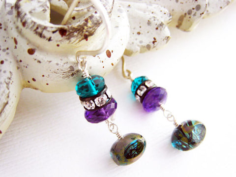 Purple Amethyst and Teal Quartz Drop Style Earrings