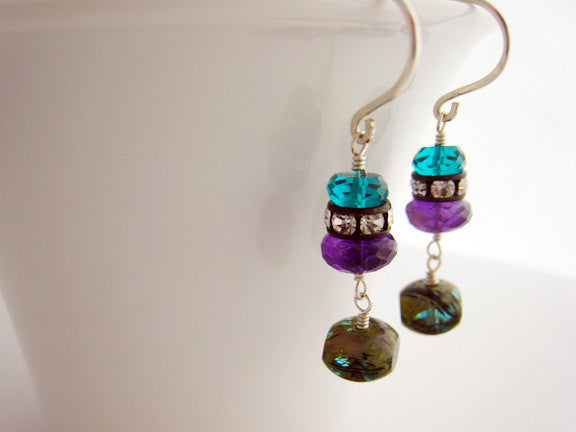 Purple Amethyst and Teal Quartz Drop Style Earrings - Sienna Grace Jewelry | Pretty Little Handcrafted Sparkles