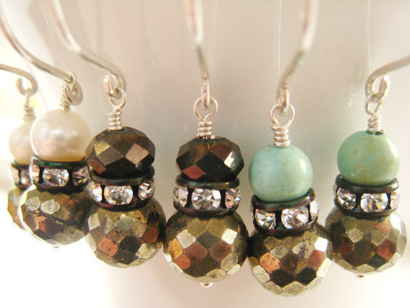 Pyrite and Turquoise Sterling Silver Earrings - Sienna Grace Jewelry