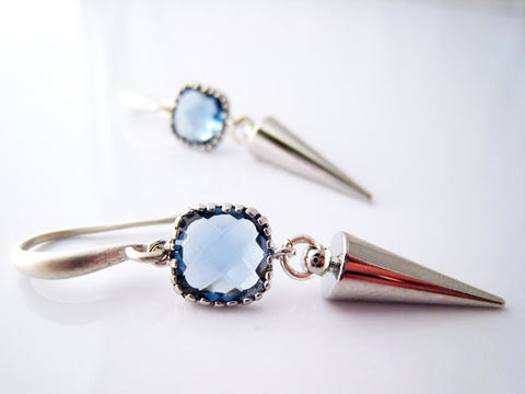 Silver Spike Blue Crystal Earrings