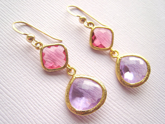 Pink and Purple Glass Earrings - Sienna Grace Jewelry | Pretty Little Handcrafted Sparkles