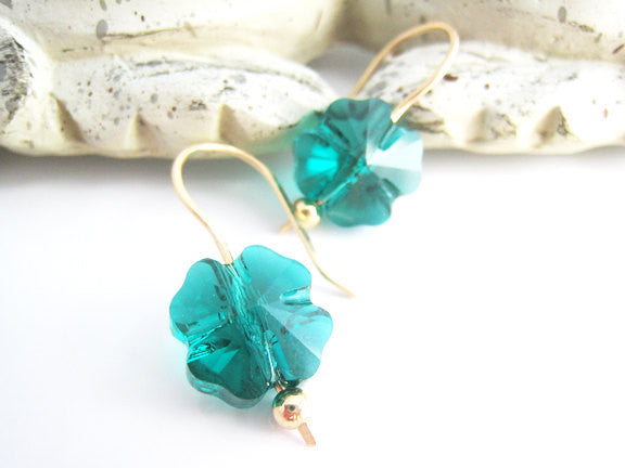 Shamrock Earrings Green Swarovski Crystal Four Leaf Clover - Sienna Grace Jewelry | Pretty Little Handcrafted Sparkles
