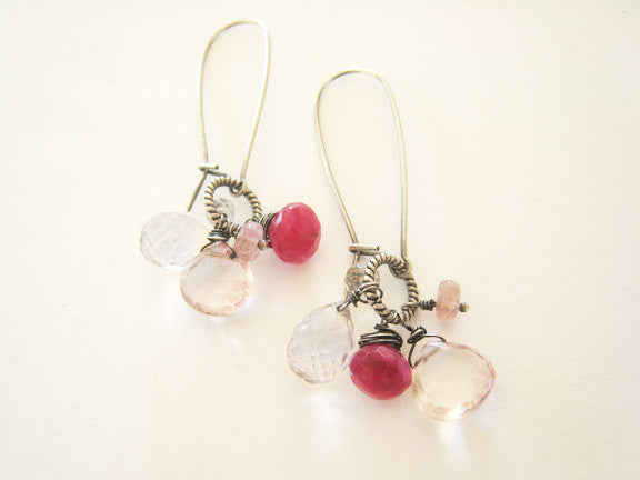 Ruby Moonstone Pink Quartz Long Dangle Earrings - Sienna Grace Jewelry | Pretty Little Handcrafted Sparkles