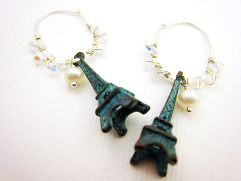 Eiffel Tower Earrings Verdigris Patina Paris Jewelry