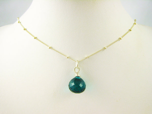 Teal Blue Crystal Quartz Necklace - Sienna Grace Jewelry