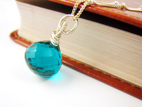 Teal Blue Crystal Quartz Necklace - Sienna Grace Jewelry | Pretty Little Handcrafted Sparkles