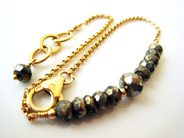 Golden Pyrite Bracelet Simple Minimalist Style - Sienna Grace Jewelry