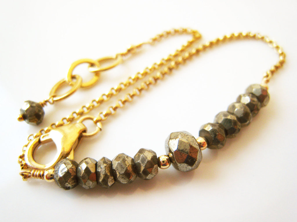 Golden Pyrite Bracelet Simple Minimalist Style - Sienna Grace Jewelry | Pretty Little Handcrafted Sparkles