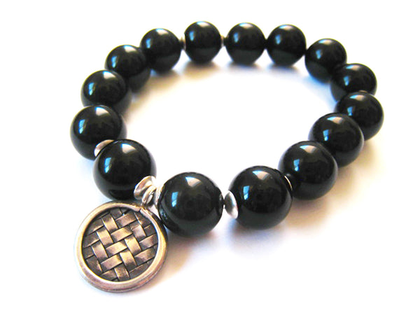 Black Obsidian Stretch Stacking Style Unisex Bracelet - Sienna Grace Jewelry | Pretty Little Handcrafted Sparkles