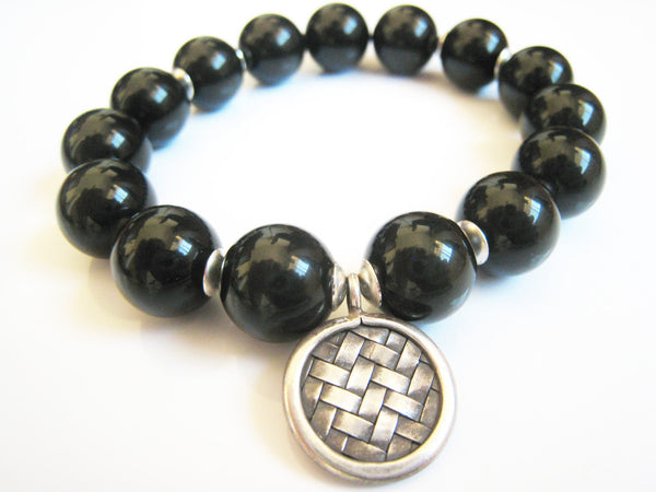 Black Obsidian Stretch Stacking Style Unisex Bracelet - Sienna Grace Jewelry