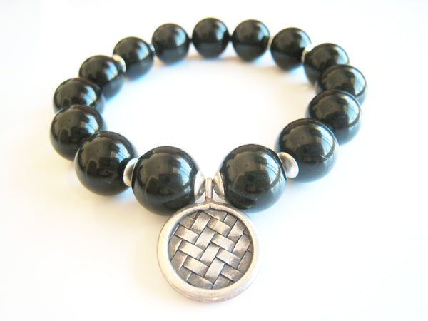Black Obsidian Stretch Stacking Style Unisex Bracelet