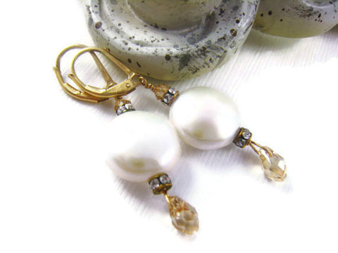 Coin Pearl Bridal Earrings with Swarovski Crystals