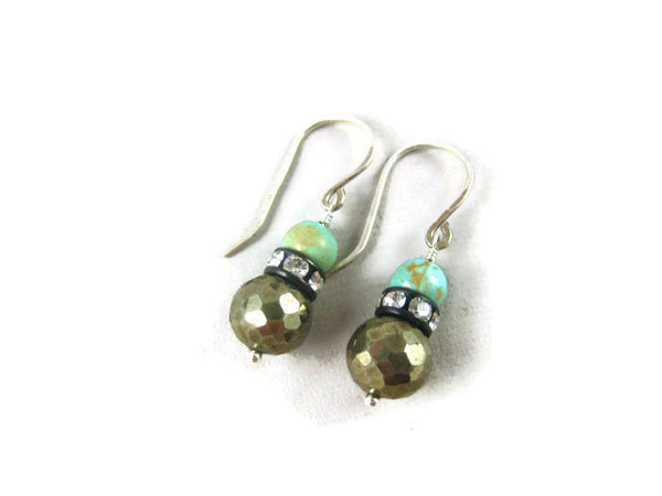 Pyrite and Turquoise Sterling Silver Earrings - Sienna Grace Jewelry | Pretty Little Handcrafted Sparkles