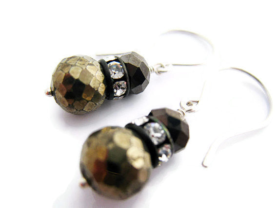 Pyrite and Turquoise Sterling Silver Earrings