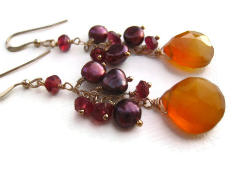 Yellow Chalcedony Magenta Pearls and Garnets Dangle Earrings - Sienna Grace Jewelry | Pretty Little Handcrafted Sparkles