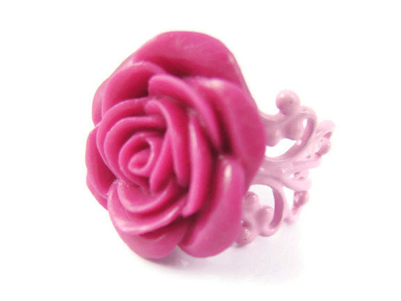 Dark Pink Rose Ring Adjustable - Sienna Grace Jewelry