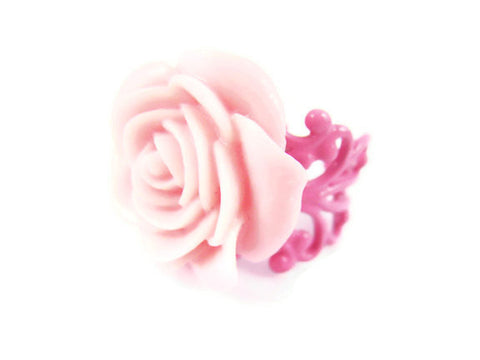 Pink Rose Ring Adjustable Floral Jewelry