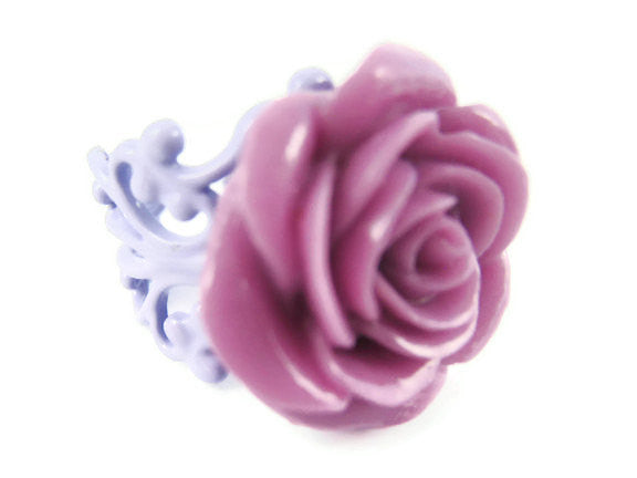 Purple Rose Ring Adjustable Flower Jewelry - Sienna Grace Jewelry