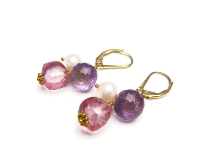 Pink Topaz Earrings with Purple Amethyst and Pearl - Sienna Grace Jewelry | Pretty Little Handcrafted Sparkles