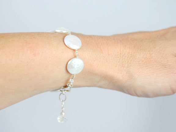 Pearl Bracelet Coin Pearl Jewelry For Brides Bridesmaids Weddings - Sienna Grace Jewelry | Pretty Little Handcrafted Sparkles