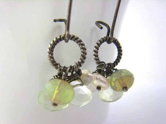 Long Gemstone Cluster Boho Style Earrings - Sienna Grace Jewelry