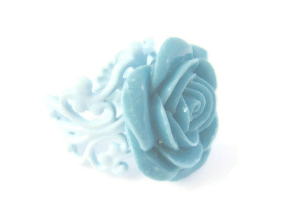 Blue Rose Ring Adjustable Size - Sienna Grace Jewelry | Pretty Little Handcrafted Sparkles