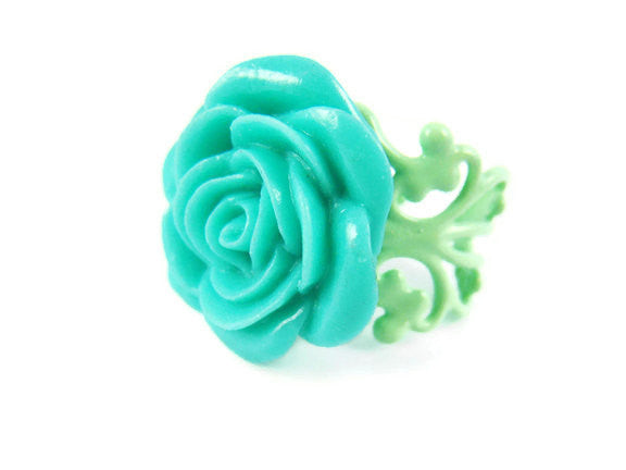 Turquoise Rose Ring Adjustable - Sienna Grace Jewelry | Pretty Little Handcrafted Sparkles